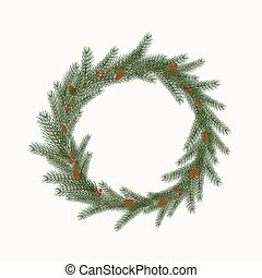 Christmas wreath with cones and berries isolated on a white background