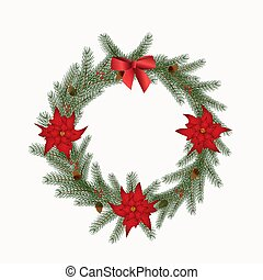 Christmas wreath with cones, flowers and a bow isolated on a white background
