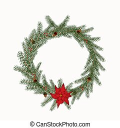 Christmas wreath with cones, flowers isolated on a white background