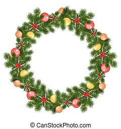 christmas wreath with decorations