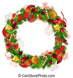 Christmas wreath with fir branches,ribbon,bells and balls