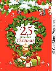 Christmas wreath with gift greeting card design