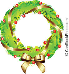 Christmas wreath with gold ribbon vector