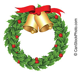 Christmas Wreath With Golden Bell