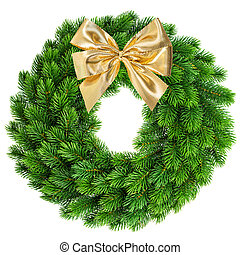 christmas wreath with golden ribbon bow