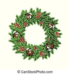 Christmas Wreath with Green Fir Branch and Cones Isolated on White Background.