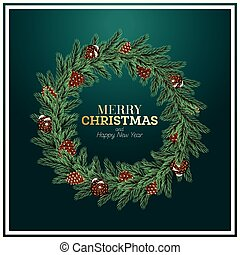 Christmas Wreath with Green Fir Branch and Cones on Green Background.