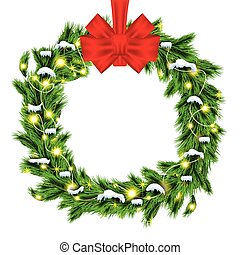 Christmas Wreath with Green Fir Branch and Red Bow Isolated on White Background.