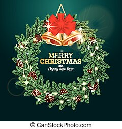 Christmas Wreath with Green Fir Branch, Cones, Golden Bells, Red Bow and Neon Light Garland on Green Background.