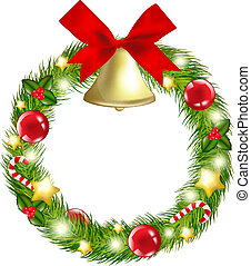Christmas Wreath With Hand Bells