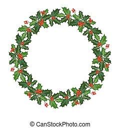 christmas wreath with holly