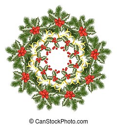 christmas wreath with holly