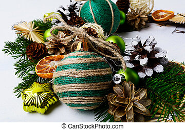Christmas wreath with homemade jute twine ornaments