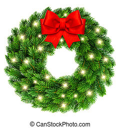 Christmas wreath with lights red ribbon bow decoration