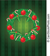 Christmas Wreath with Ornaments and Candy Cane Illustration