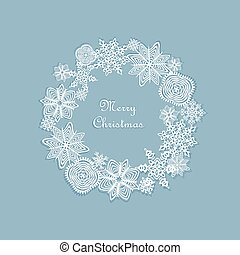 Christmas wreath with paper cut out snowflakes