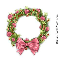 Christmas Wreath with Pink Balls and Bow, New Year Decoration on White Background