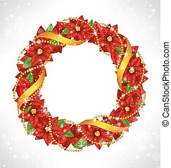 Christmas wreath with poinsettia on grayscale - Shiny...