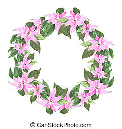 Christmas wreath with poinsettia plant. Hand-drawn watercolor botanical illustration. Realistic isolated object