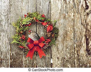 Christmas wreath with pretty bird.