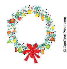 Christmas Wreath with Price Tag and Red Bow