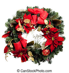 Christmas wreath with red and gold on a white background