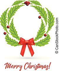 Christmas wreath with red bow ribbon