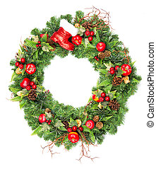 christmas wreath with red decoration