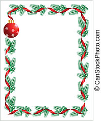 Christmas wreath with red ribbon and ball. greeting card template -2