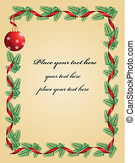 Christmas wreath with red ribbon and ball on background