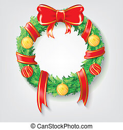 Christmas Wreath with Red Ribbon and Christmas balls Vectors design. Realistic Christmas ring illustration. Properties, decoration, and element for christmas and new year event