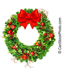 christmas wreath with red ribbon bow isolated on white