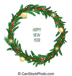 Christmas wreath with red ribbon, gold balls and snowflakes on evergreen branches. New Year symbols.