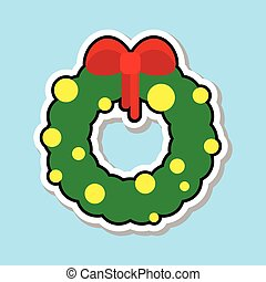 Christmas Wreath With Red Ribbon Icon Isolated Over Blue Background Sticker Holiday Decoration Concept