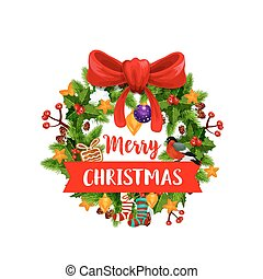 Christmas wreath with ribbon banner icon design