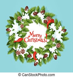 Christmas wreath with ribbon greeting card design
