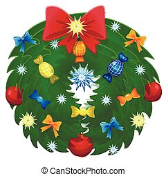 Christmas Wreath With Ribbons, And Bow Isolated