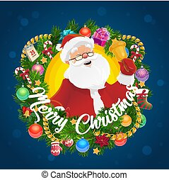 Christmas wreath with Santa Claus and Xmas bell