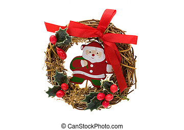 Christmas wreath with Santa Claus