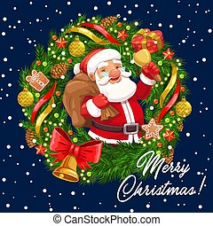 Christmas wreath with Santa, Xmas bell and gifts