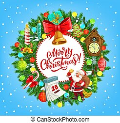 Christmas wreath with Santa, Xmas gifts and bell