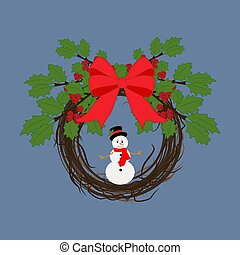 Christmas wreath with snowman