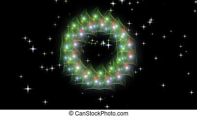 Christmas wreath with stars - Shiny Christmas wreath made...