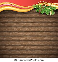 Christmas tree, holly and decorative elements on background of boards