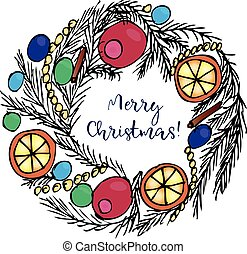 Christmas wreath with text. Merry Christmas greeting card. Colored vector illustration on white