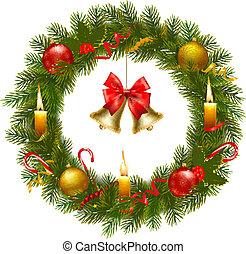 Christmas wreath with tree