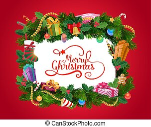 Christmas wreath with Xmas gifts, greeting card