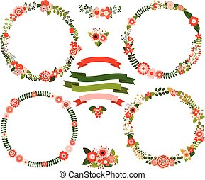 Christmas wreaths and banners