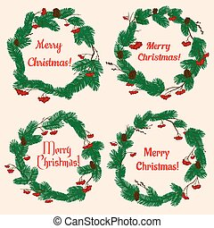 Christmas wreaths with holly berries and cones