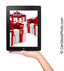 Christmas, x-mas, online shopping concept - Woman hand...